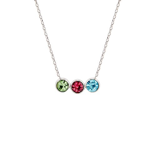 (3 Simulated Stone Bezel Set Silver Necklace )