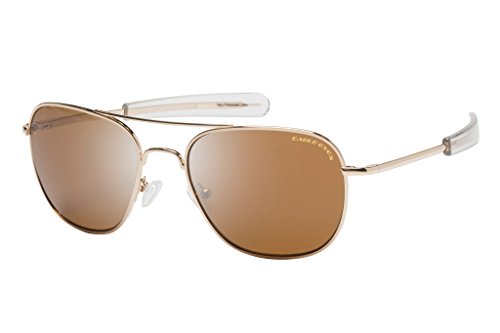 Eagle Eyes FREEDOM Aviator Sunglasses - Non-Polarized Square Gold Rims with Military Brown Lenses, - Issued Navy Glasses