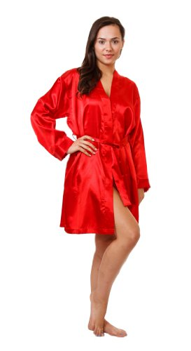 Up2date Fashion Satin Charmeuse Robe, Five Color Choices, Sizes (S, M, L, XL, 2X), Style#Gwn11 (Medium, Red)]()