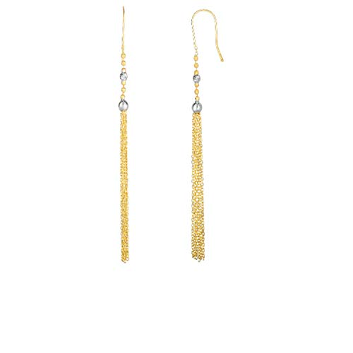14kt Yellow+White Gold Graduated Round Bead On Chain Tassel Drop Earring ()
