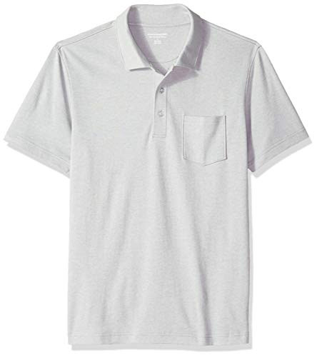 - Amazon Essentials Men's Slim-Fit Pocket Jersey Polo, Light Grey Heather, Medium