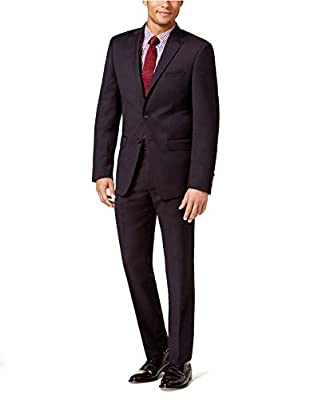 Calvin Klein Mens Slim-Fit Textured Suit Wine, 42L x 35W