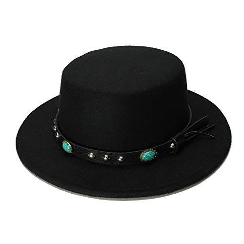 Vintage 100% Wool Wide Brim Cap Pork Pie Porkpie Bowler Hat Turquoise Leather Band Women Men ()