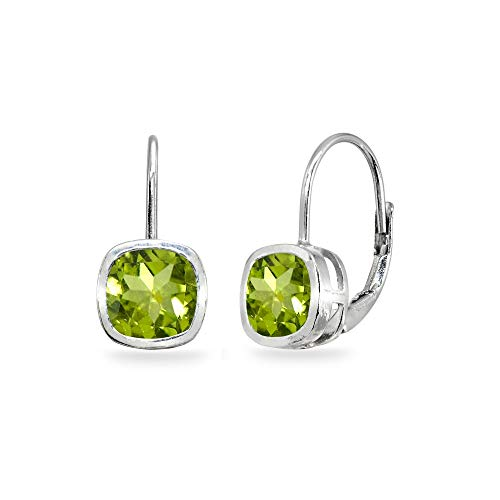 (Sterling Silver Peridot 6x6mm Cushion-Cut Bezel-Set Dainty Leverback Earrings for Women Teen Girls )