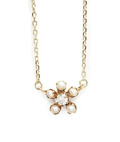 """Cerise Marron """"graines de graines de collier en or jaune 10carats avec perle et diamant dans un design fleur longueur de 40cm"""