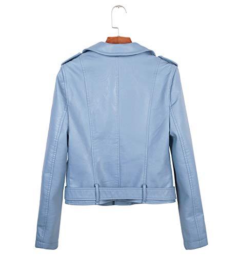 Corto E Lunga Jacket Pelle Sottile Blouse Outwear Outerwear Gavemenget Giacca Manica Donna Primavera Autunno Giacche Casual Cappotto Coat Tops Azzurro Di B7q7waz65