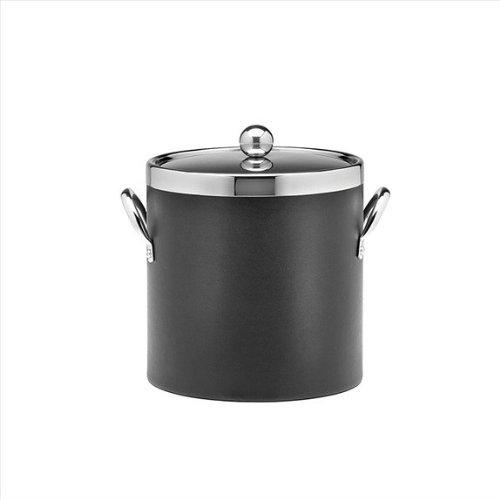 Kraftware Ice Bucket with Chrome Lid, Ring and Side Handles, Black - 3 Quart