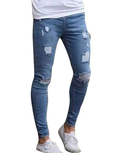 Blau2 Skinny Da Caviglia Pantaloni Uomo Strappati Giovane Alla Moda Cinturino Jeans Con xRRpPIq