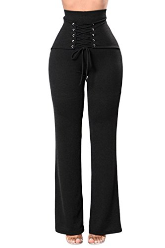 COCOLEGGINGS Womens Stretchy Bell Bottoms Lace Up High Waist Wide Leg Pants