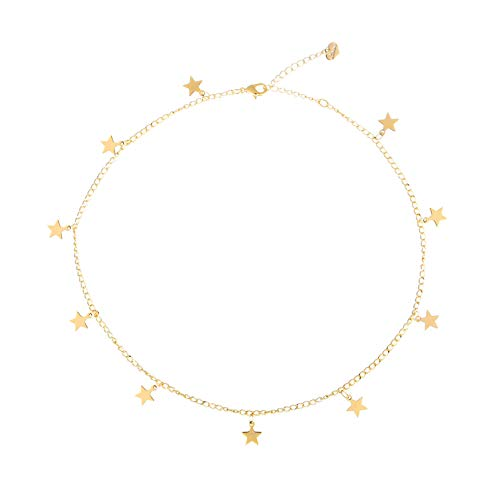 S.J JEWELRY Womens Simple Delicate Full Moon 14K Gold Plated/Rose Gold/Silver Plated Layered Pendant Handmade Star Chokers Necklaces-CK-Star