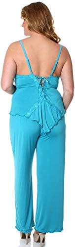 Women's Plus Size Slinky Knit and Lace Camisole Pajama Set #2095X (2X, - Knit Slinky Set Pant