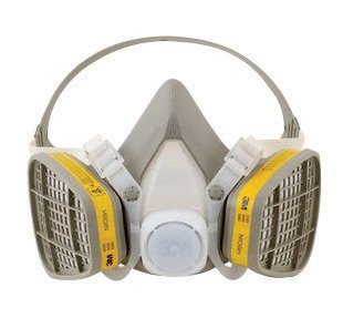 3M Medium Yellow Thermoplastic Elastomer Half Mask 5000 Series Disposable Air Purifying Respirator With 4 Point Harness by 3M