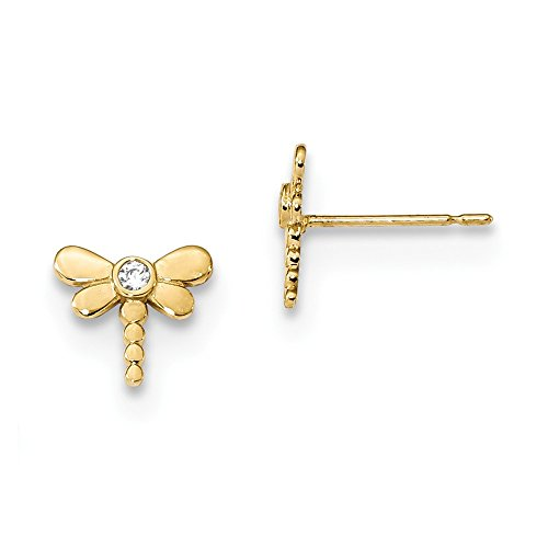 Solid 14k Yellow Gold Childrens CZ Cubic Zirconia Dragonfly Post Earrings (8.3mm x 7.7mm)