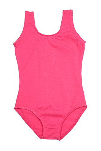lovelyprincess Girls Classic Dance Tank Leotard, Hot Pink Color, Size for 2-3T Baby -