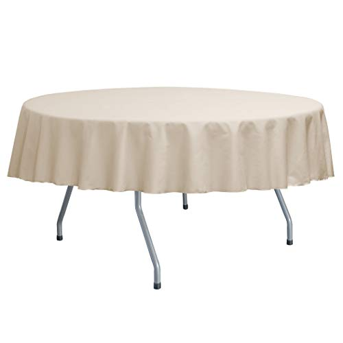 Ultimate Textile -5 Pack- Poly-Cotton Twill 84-Inch Round Tablecloth, Beige