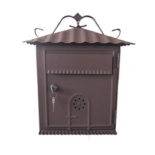 メタルレターボックス壁掛けメールボックス (色 : Brown)  Brown B07QGNJ94S
