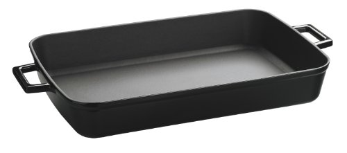 Lava Signature Enameled Cast-Iron - 5-1/4 quart - 10 x 16 inch Roasting - Baking Pan, Obsidian Black by Lava Cookware