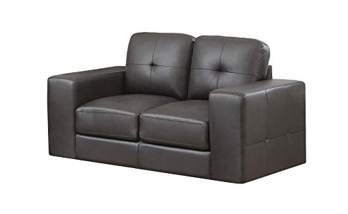 Monarch Specialties I I 8222BR Bonded Leather Match Love Seat, Dark Brown