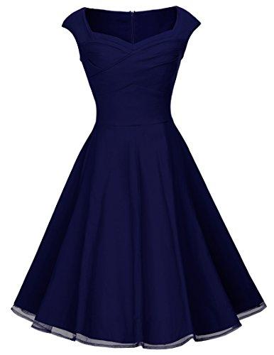Sommerkleid A003 1950er Abendkleider Dunkelblau 42 Retro HOMEYEE Faltenrock Damen Cocktailkleid 1fqx5wnZP
