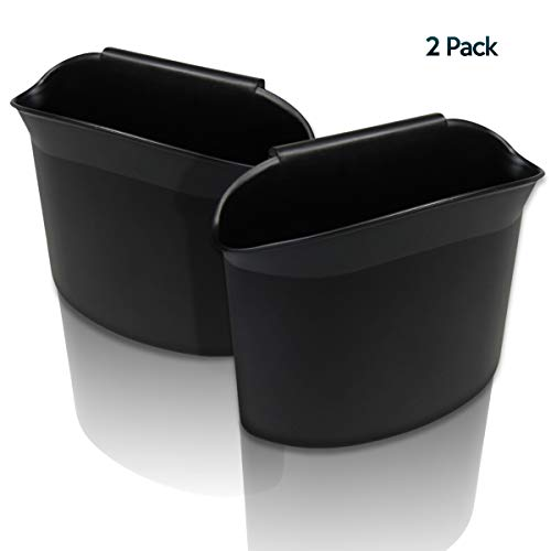 Zone Tech 2-Pack Portable Hanging Mini Car Garbage Can - Classic Black Premium Quality Black Universal Traveling Portable Car Trash Can
