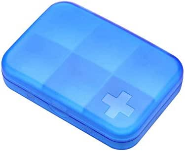 Mhjmijb Portable 6 Cells Travel Damp-Proof Pill Medicine Drug Storage Case Box Container,Medicine Organiser Box,Mini Pills Box for Medicine (Color : Blue)