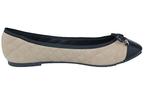 Breathelles Dames Ashley-11 Gewatteerde Ballet Kunstleer Flat