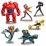 Big Hero 6 Figure Play Set - 6 Pcs Set Hiro Baymax Mech (Red) Go Go Honey Lemon Wasabi Fred