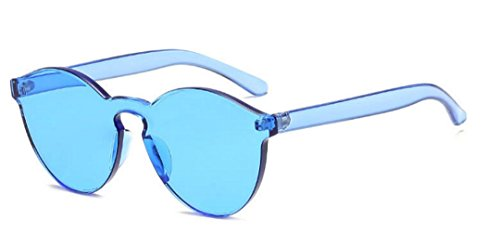 My Shades - Transparent Solid Color Retro Round Sunglasses (Light - Light Sunglasses Blue