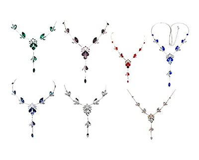 Faship Gorgeous Rhinestone Floral Crystal Necklace Earrings Set