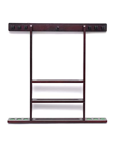 - 6 Pool Cue - Billiard Stick Wall Rack Mahogany Finish Billiards Pool Cue Rack