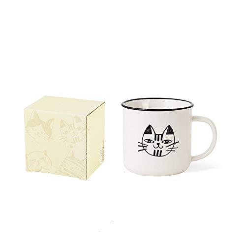 385ml Vintage Cat Pattern Mug Ceramic Coffee Milk Teacup Creative Nordic Cartoon Water Cup Breakfast Oatmeal Juice Mug ()
