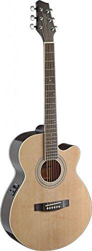 Stagg SA40MJCFI-N Mini Jumbo Cutaway Acoustic-Electric Guitar with FISHMAN Preamp Electronics - Natural