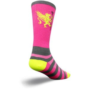 SockGuy Crew 8in LAX Griffen Lightweight Lacrosse Socks (LAX Griffin Pink - L/XL) ()
