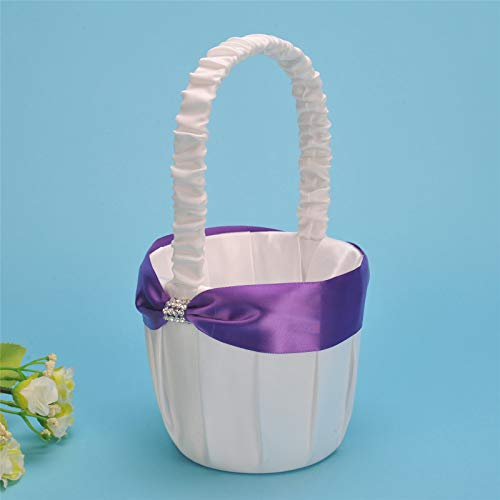 AW Wedding Flower Girl Basket with Purple Ribbon and - Basket Bridal