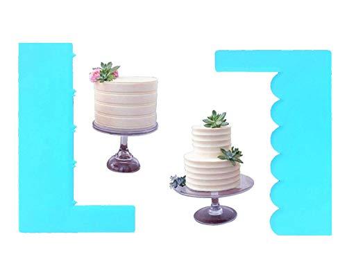 Plastic Sawtooth Cake Scraper,Edges Scraper Fondant Cream Sugarcraft Spatula Mousse Blade Dough Scraper,DIY Cake Decorating Spatula,Set of 2