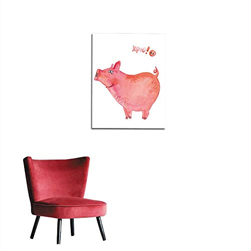 longbuyer Wall Paper Watercolor Illustration of a Pig Pig-Symbol of New Year Zodiac Sign Mural 20