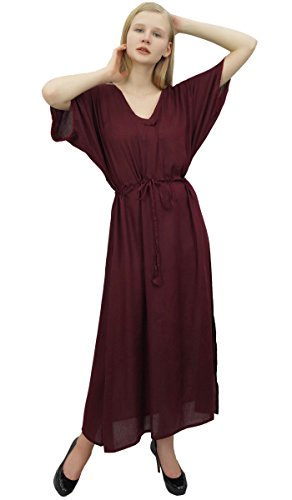 Rayon Wine Long With Dress Drawstring Maxi Loose Women Wine Plain s Bimba Casual F76xgwttq