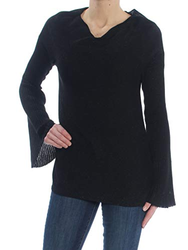 VINCE CAMUTO $99 Womens New 1378 Black Glitter Bell Sleeve V Neck Sweater XS B+B