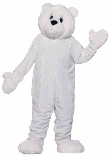 Forum Deluxe Plush Polar Bear Mascot Costume, White, One Size -