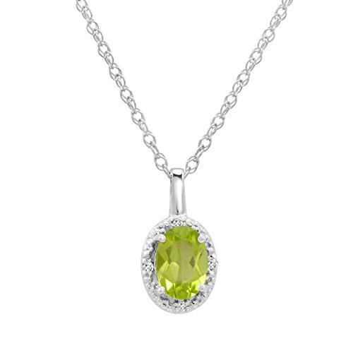 14K White Gold Oval Peridot and Diamond Pendant (1/2ct tw. 18