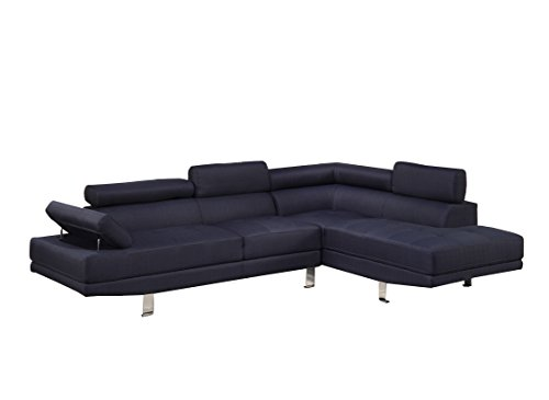 Poundex Bobkona Vegas Blended Linen 2-Piece Sectional Sofa with Functional Armrest and Back Support, Dark Blue