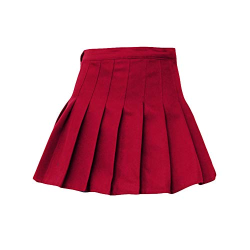2673f7916b Alamana Fashion Women Gift Solid Color High Waist Tennis Skater Mini Pleated  Short Skirt Red XS