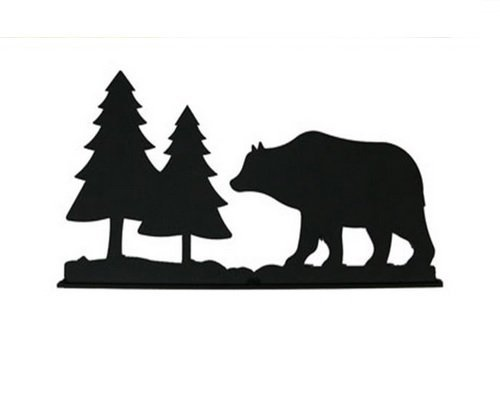 Village Wrought Iron MB-83 Bear and Pines Mail Box Topper