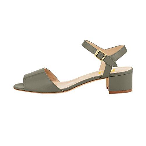 FSJ Women Comfortable Walking Ankle Strap Sandals Peep Toe Chunky Low Heels Summer Shoes Size 4-15 US Grey Wd4ju4G0E
