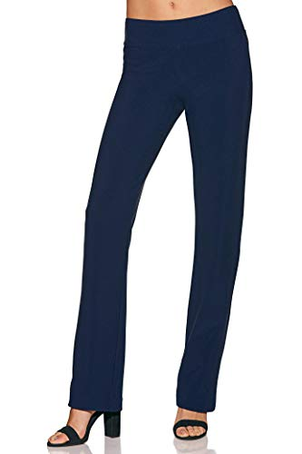 Beyond Travel Women's Wrinkle-Resistant Straight-Leg Knit Solid Color Pant Maritime Navy Small Long