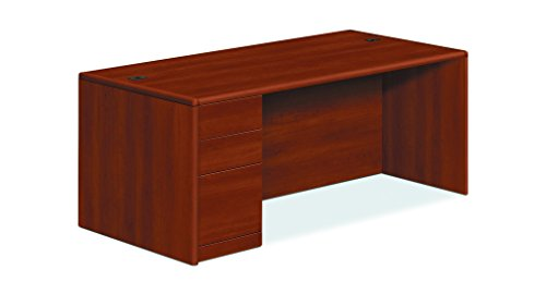 HON 10788LCO 10700 Series Single Pedestal Desk, Full Left Pedestal, 72 x 36 x 29 1/2, Cognac