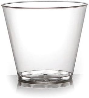Pack de 40 elegantes vasos/tazas de postre de plástico duro transparente, desechables y reutilizables, 142 ml