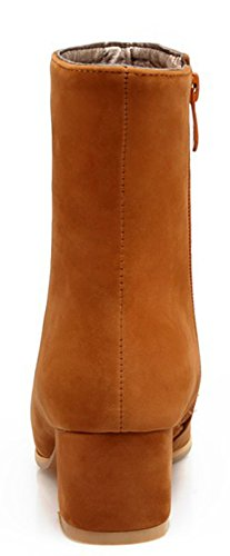 Round Women's Zipper Booties Side Daily Toe Faux Aisun Brown Suede d4qXEw41x