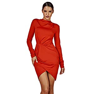 whoinshop Women's Long Sleeve Bodycon Ruched Elegant Evening Party Mini Dresses