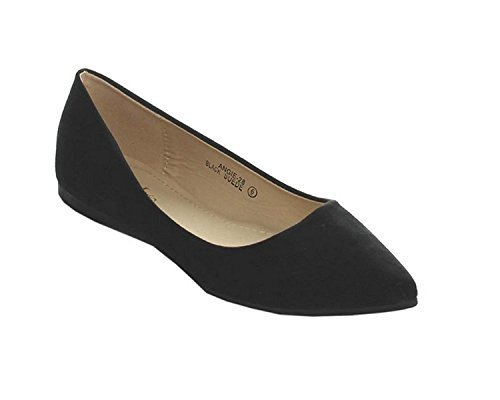 Angie-28 Women's Classic Pointy Toe Ballet Flat Shoes,Black,8.5
